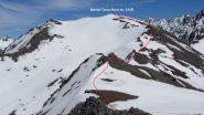 il percorso di cresta rimanente dalla Cima Viradantour al Terra Nera (2-6-2012)