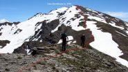 il percorso di cresta seguito per la Cima Dormillouse (2-6-2012)