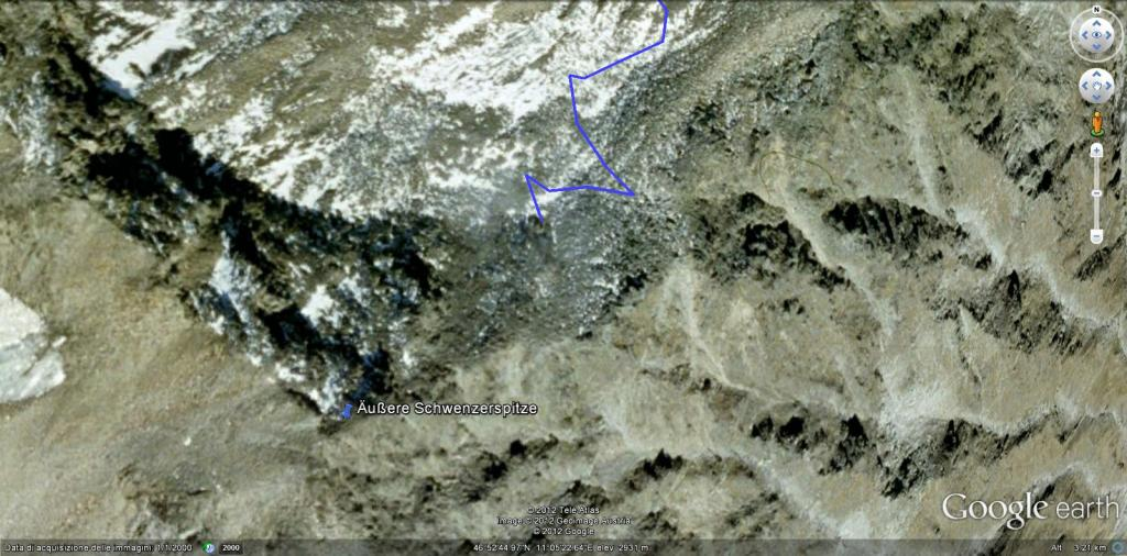 Aussere Schwenzerspitze dal Passo del Rombo 2012-06-07