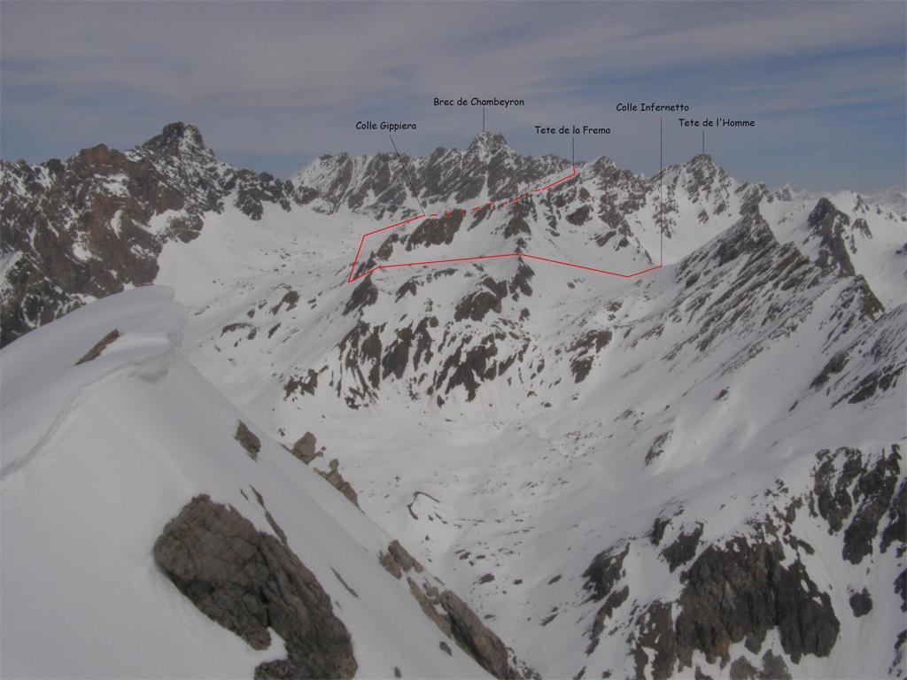 Il percorso visto dalla Rocca Bianca(2010),per errore è indicato il Brec,ma è l'Aig.de Chambeyron