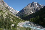 Il bel vallone di salita da La Berarde lungo il torrente Veneon
