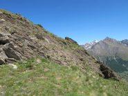La traccia che dal colle Ouillé porta alla cima omonima
