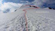 il tracciato della parte alta della via seguita per raggiungere la cima (23-6-2012)