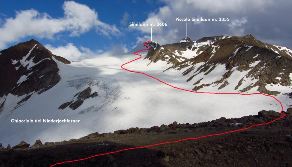 il tracciato della via di salita visto dal Rifugio Similaun (23-6-2012)