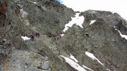la parte alta del sentiero che risale la bastionata sotto il Rifugio Similaun (22-6-2012)