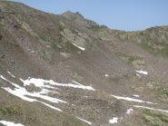 L'alto vallone Gorgia dei Laghi e il Passo del Bue in fondo col bel sentiero