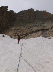 la via vista dall'ultima doppia che deposita sul nevaio