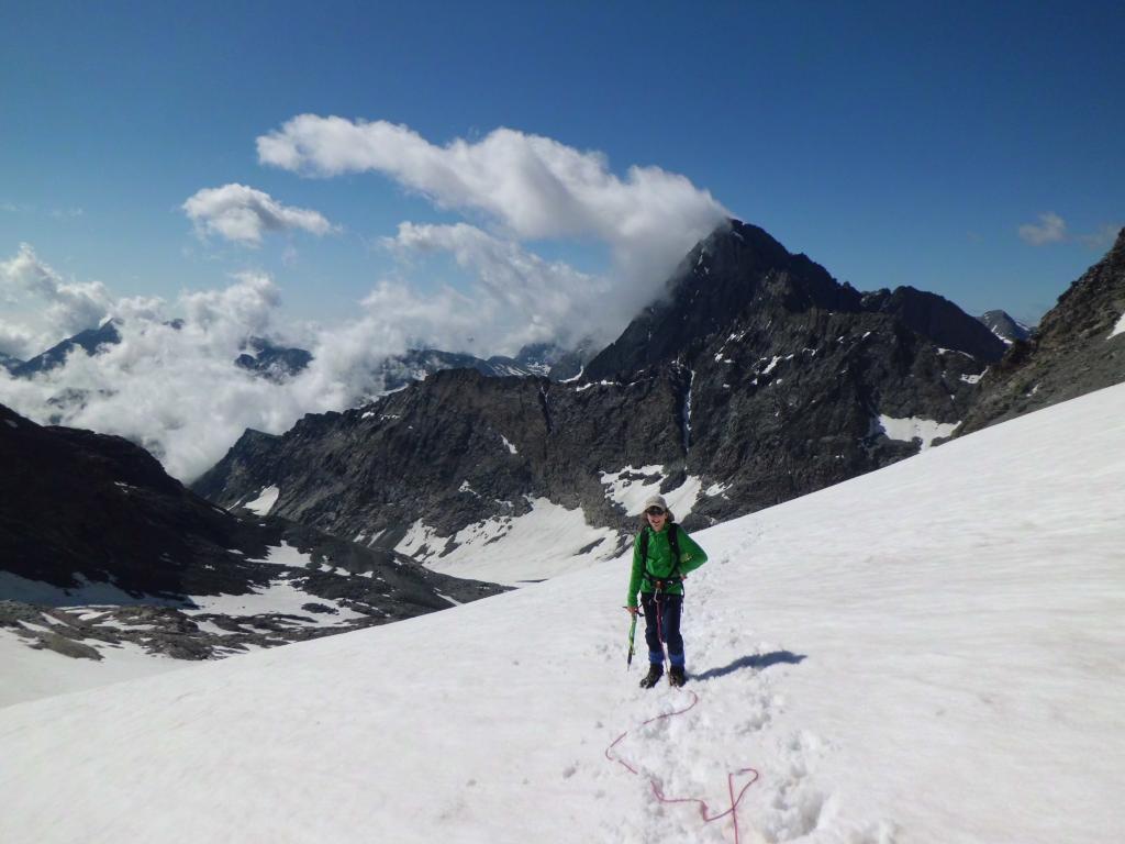 sul ghiacciaio del Collerin, Bessanese sullo sfondo