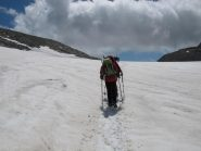 La via del ritorno sul ghiacciaio
