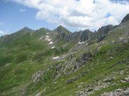 passo del Busin (centro foto) e tratto di percorso da risalire nel versante svizzero