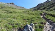 il valloncello erboso che conduce al Col de l'Eychassier (15-7-2012)