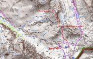mappa IGN e percorso seguito per raggiungere la cima