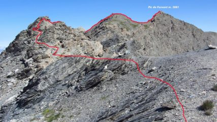 la parte alta della via seguita per arrivare in cima (15-7-2012)