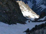 il pendio nevoso per uscire in cresta alla Barre