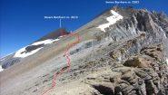i due Barrhorn e la via di salita seguita visti dallo Shollijoch (23-7-2012)