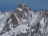 Lo Schreckhorn e il suo percorso di salita visto dal Finsterahorn (marzo 2012)