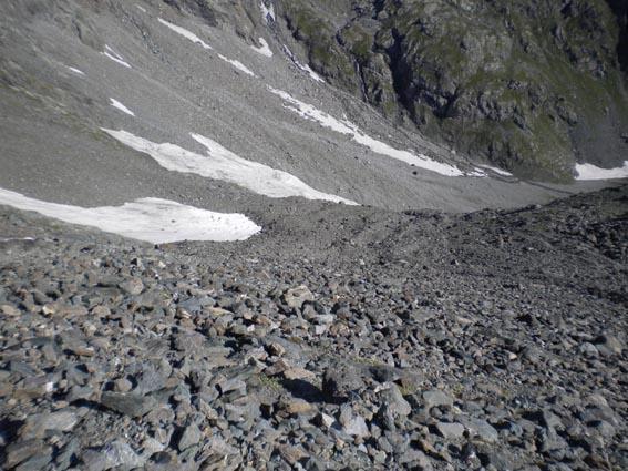 salita alla morena ghiacciaio Bertà