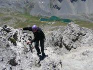 Primo tratto di arrampicata dopo il colletto che porta alla cengia