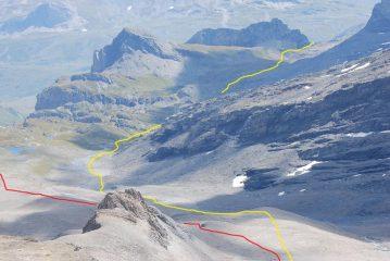 In rosso il percorso di salita, in giallo la via di ritorno