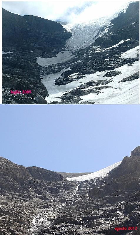 il ghiacciaio del lamet nel 2005 e nel 2012