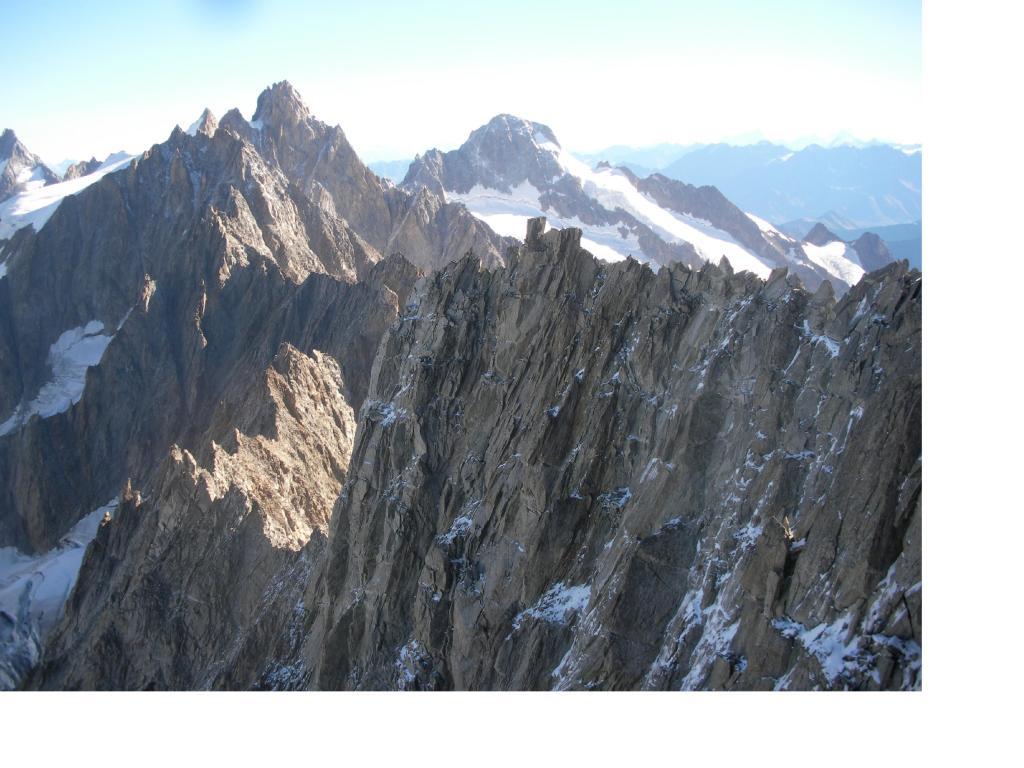 La cresta finale  piana dalla vetta..con dietro il Triolet e il M.Dolent