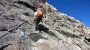 salendo le roccette attrezzate verso il Rifugio Gnifetti (27-8-2012)