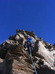 ultimi metri di cresta prima di sbucare in cima alla Dufour (28-8-2012)