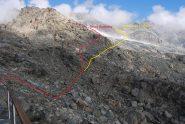 Visto dal Rifugio, il primo tratto di percorso verso il ghiacciaio