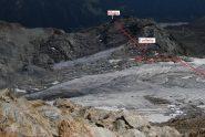 Il percorso di salita visto dalla cresta in prossimità del colle del Rutor.
