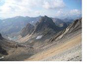 Il Roc de Valmeinier e a sx in basso il Lac Blanc..
