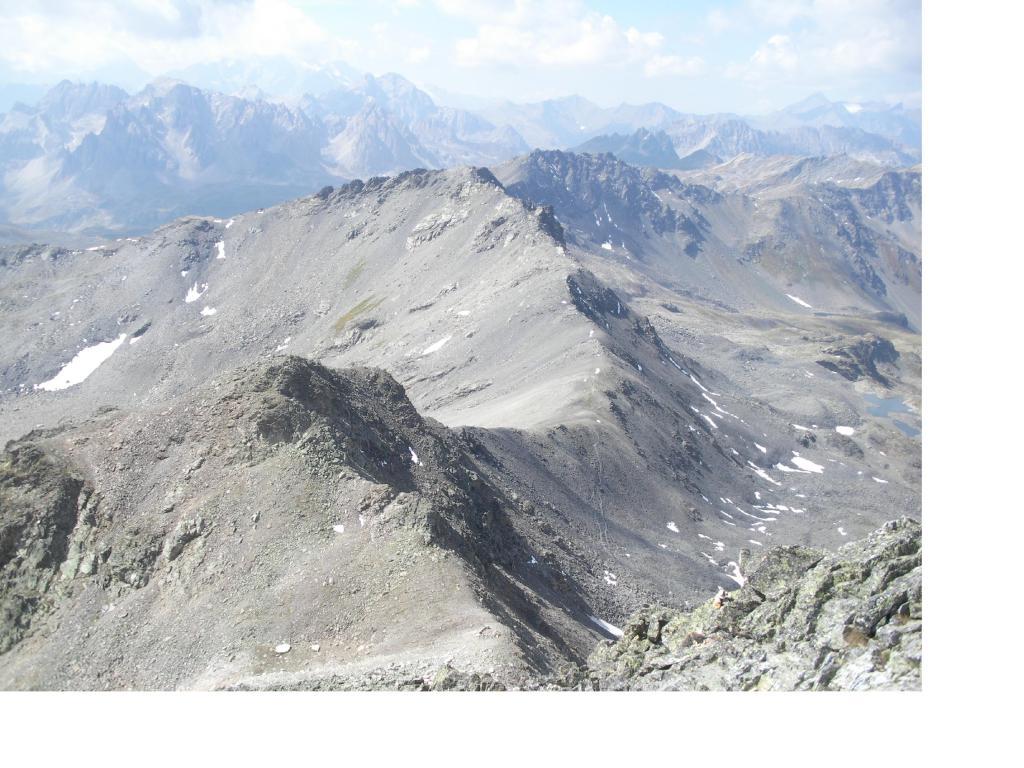 La Roche du Chardonnet  e il Col de Valmeinier dalla vetta..