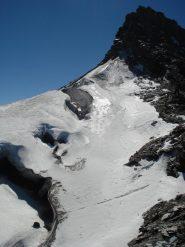 La parte terminale del ghiacciaio e la vetta