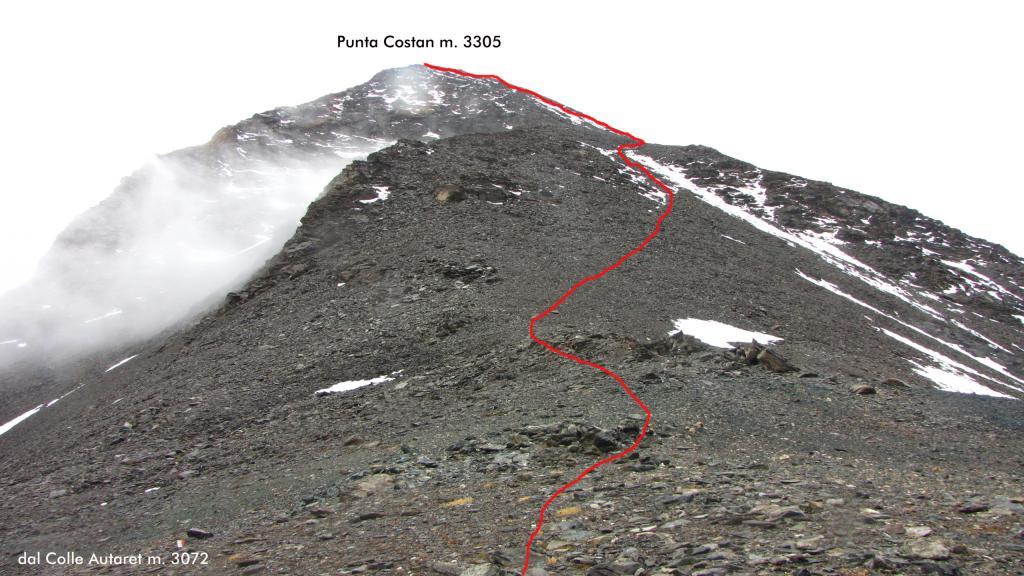 la via di salita alla cima vista dal Colle Autaret (22-9-2012)