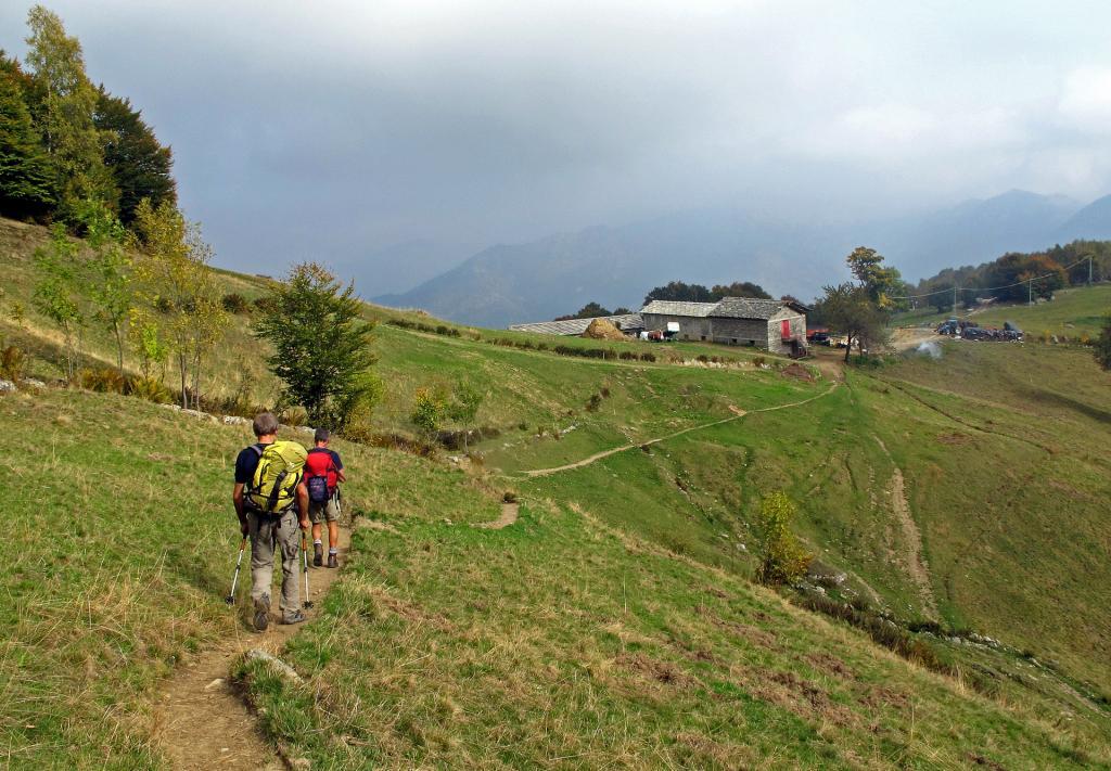 Alpe Freste,dritti si scende per la strada,a destra si scende per il sentiero