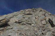 ultimi metri di facile cresta prima di arrivare in cima (7-10-2012)