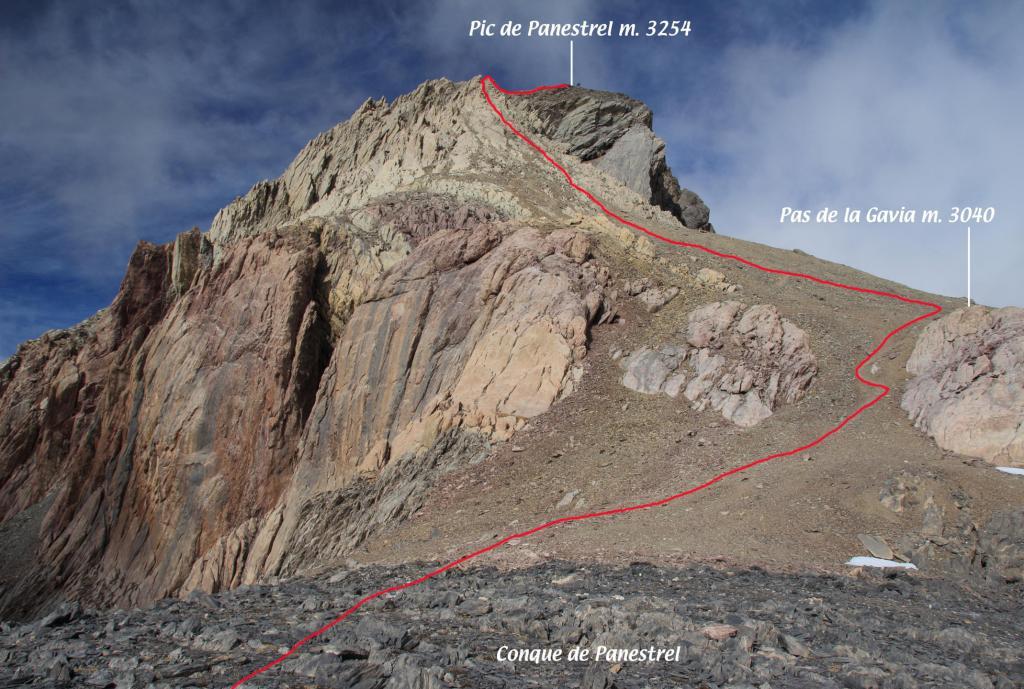 la parte restante della via di salita vista dalla parte terminale della Conque de Panestrel (7-10-2012)
