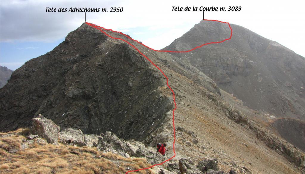 il tracciato della via di salita visto dalla Tete de l'Eyssiloun (21-10-2012)