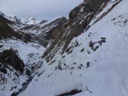 Discesa delle Barricate con gli sci