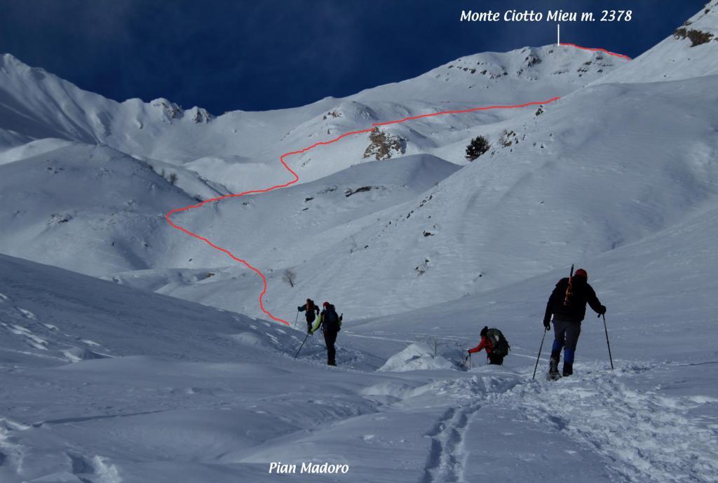 il tracciato della via di salita (8-12-2012)