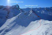 il Ciotto Mieu e la parte alta della via di salita vista dal Creusa Occidentale (8-12-2012)