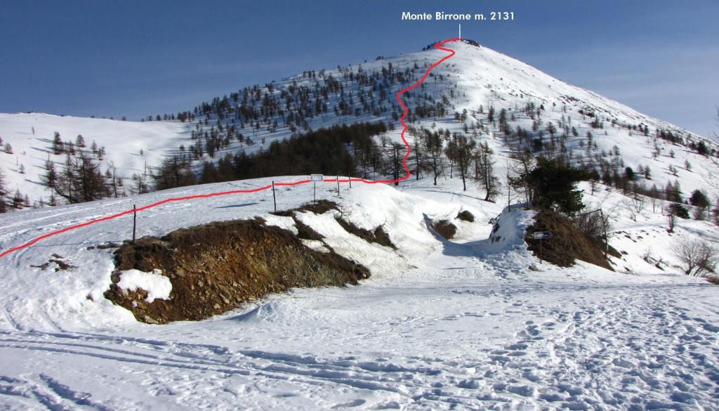 il tracciato della via seguita visto dal Colle Birrone (22-12-2012)
