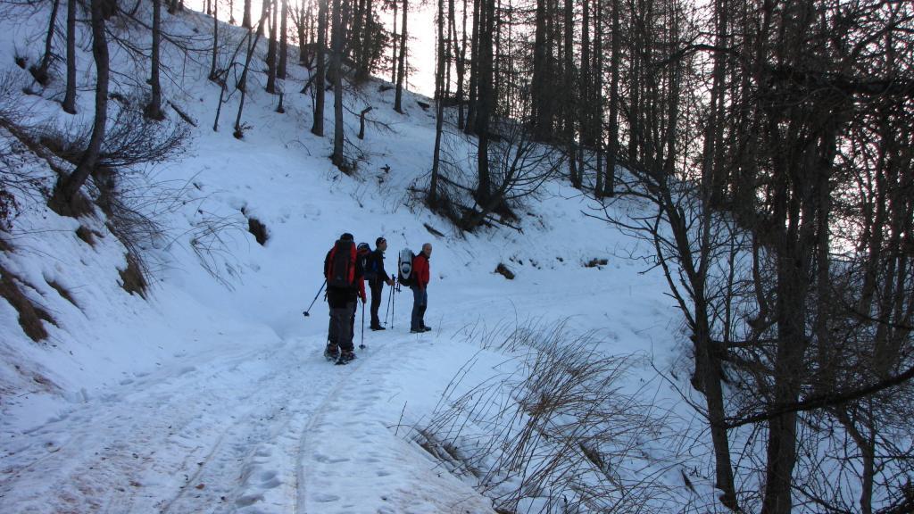 superato il bosco riprendiamo la stradina (22-12-2012)