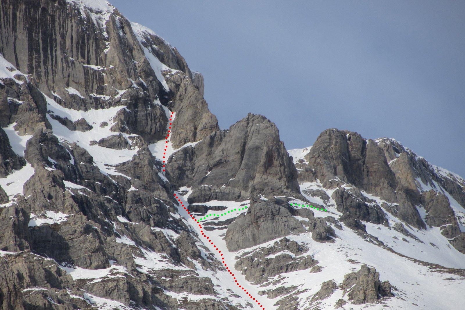in rosso il canale completo (il salto ghiacciato è nascosto), in verde la variante