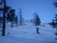 la parte alta del bosco: neve lavorata dal vento;