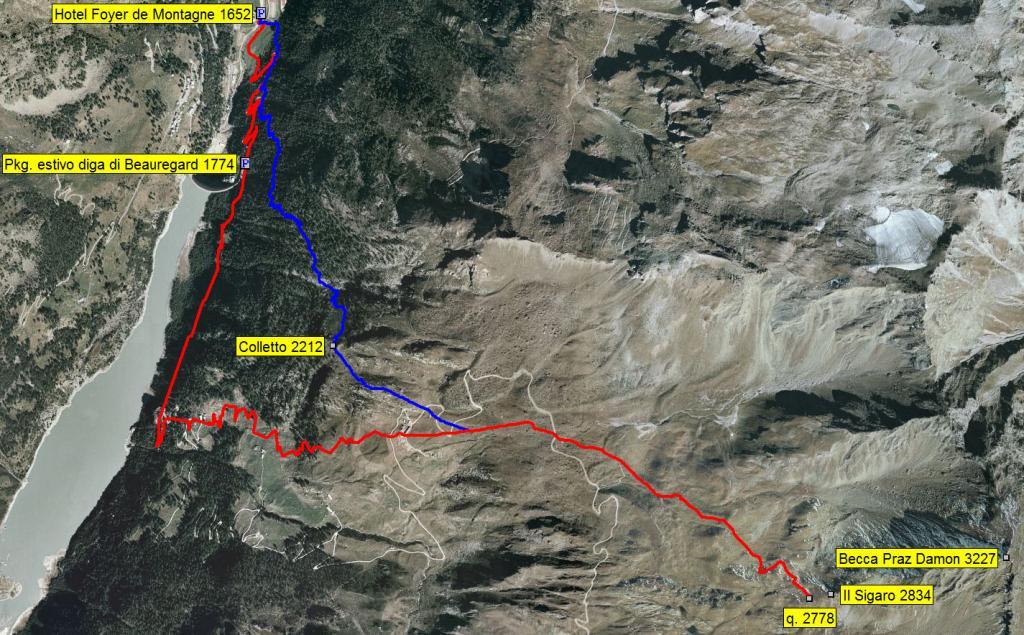 mappa itinerari dopo chiusura strada sulla diga: rosso itin. classico, blu variante per alta via 2