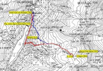 mappa itinerari su base CTR 1/50.00, dopo chiusura strada sulla diga: rosso itin. classico, blu variante per alta via 2