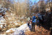 salendo nel bosco verso il Colle di Gilba (5-1-2013)