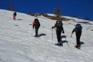 i primi pendii nevosi risaliti sul costolone SE della Garitta Nuova (5-1-2013)