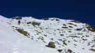 Luciano sale verso la Cima Sud della Quinzeina (26-1-2013)