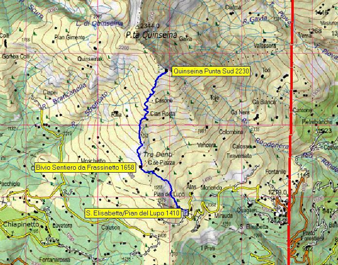 mappa itinerario da Pian del Lupo